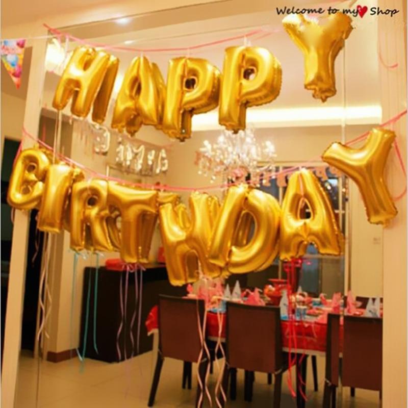 New 13pcs/lot Gold / SliverLetter Happy Birthday BALLOON aluminum foil balloon b