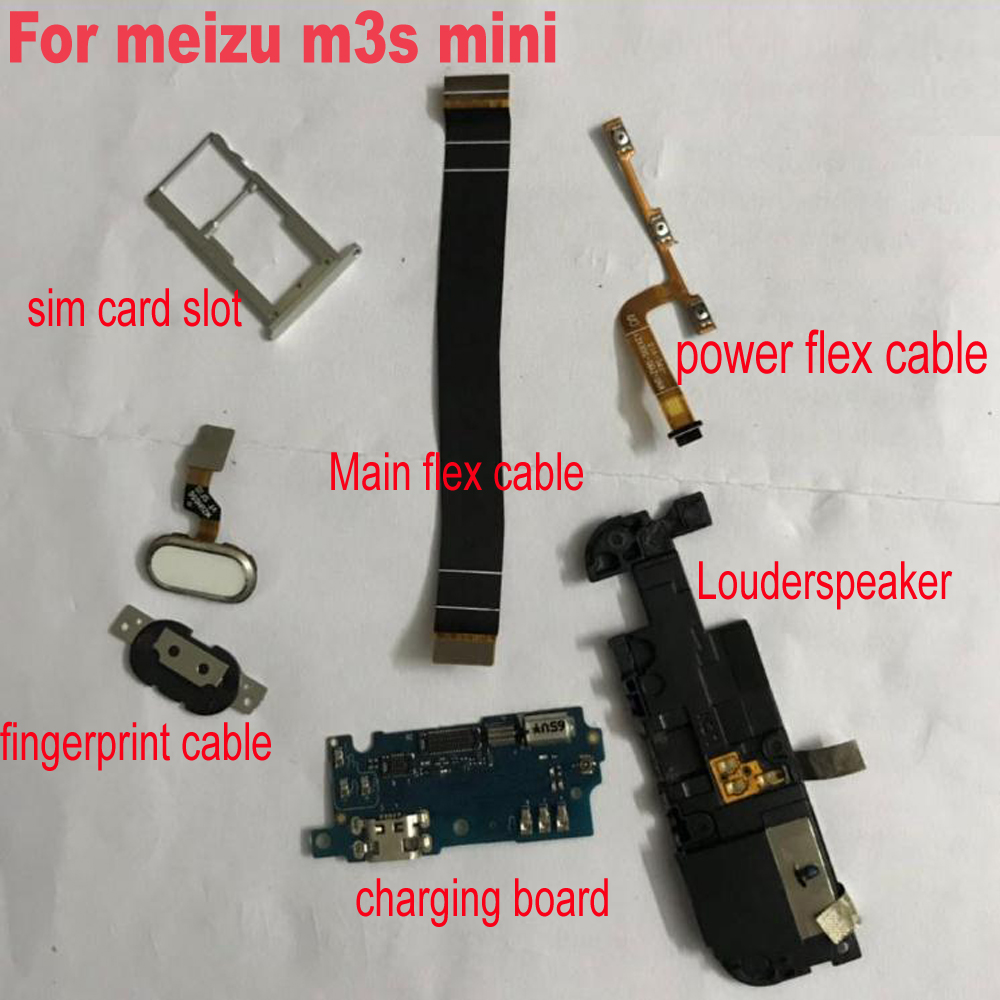 Back Rear Big Front <font><b>Camera</b></font> Louderspeaker USB Charging board FingerPrint Flex cable for <font><b>Meizu</b></font> <font><b>M3S</b></font> mini Meilan 3S Main Power flex image