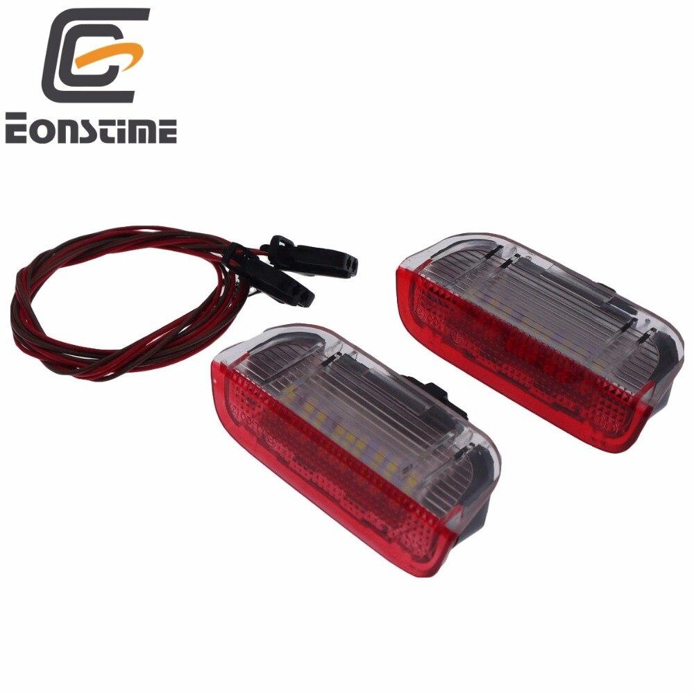 Eonstime Rojo 2 piezas puerta del coche LED de luz de advertencia bienvenida proyector para VW Passat B6 B7 CC Golf 6 7 jetta MK5 MK6 Tiguan Scirocco