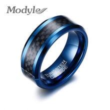 81e38ddba925 Modyle 2018 nuevos anillos de tungsteno azul para hombres bandas de boda 8mm  fibra de carbono