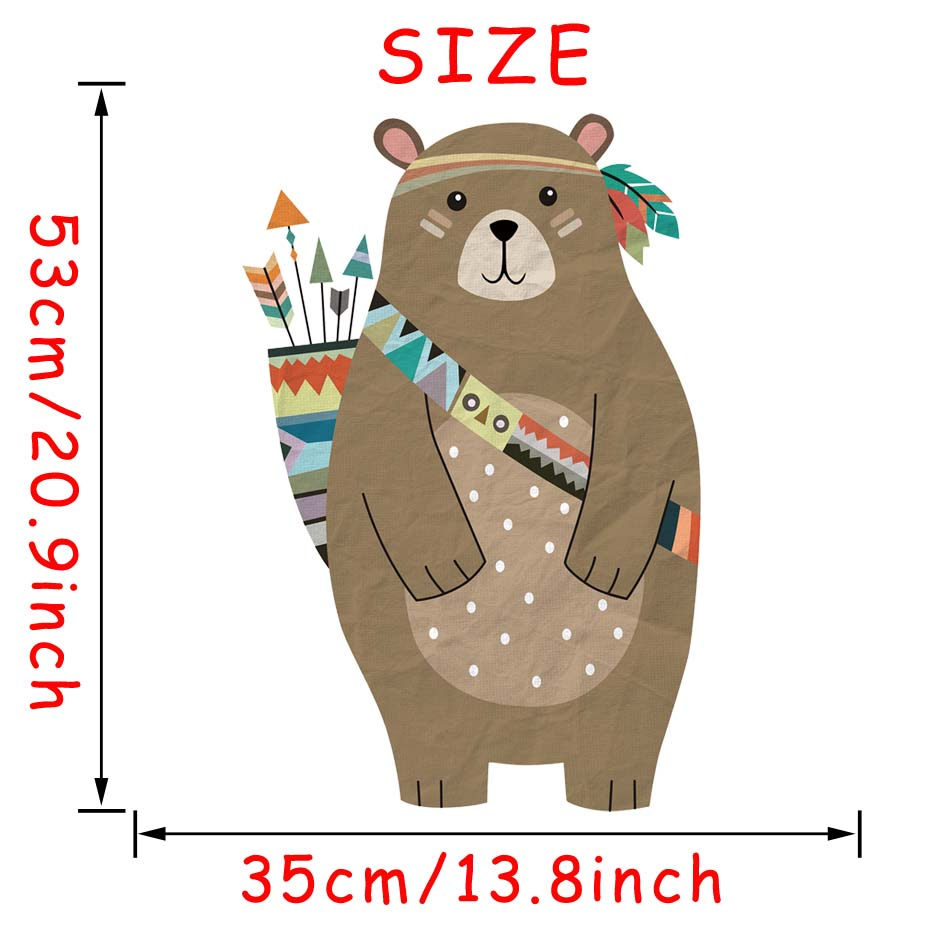 Image 5 - colourful Tribal Bear Wall sticker Woodland Animal Bear arrow decals For Children Room Tribal Nursery room Home Decor Murals Art-in Wall Stickers from Home & Garden