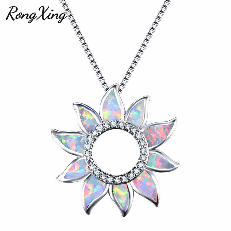 RongXing Charming Rainbow Hollow Sunflower Pendants for Women 925 Sterling Silver Zircon Necklace Blue/White Fire Opal Choker