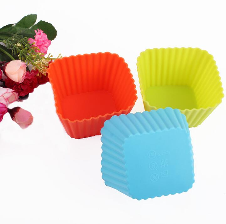 3 size Square Shape 3D Cake Cup Silicone Muffin Cupcake ...