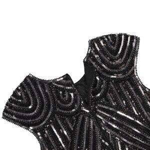 Image 5 - נשים של גטסבי גדולה בציר O צוואר שווי שרוול נצנצים חרוז ציצית 1920s שמלת סנפיר של שואג מסיבת תחפושות