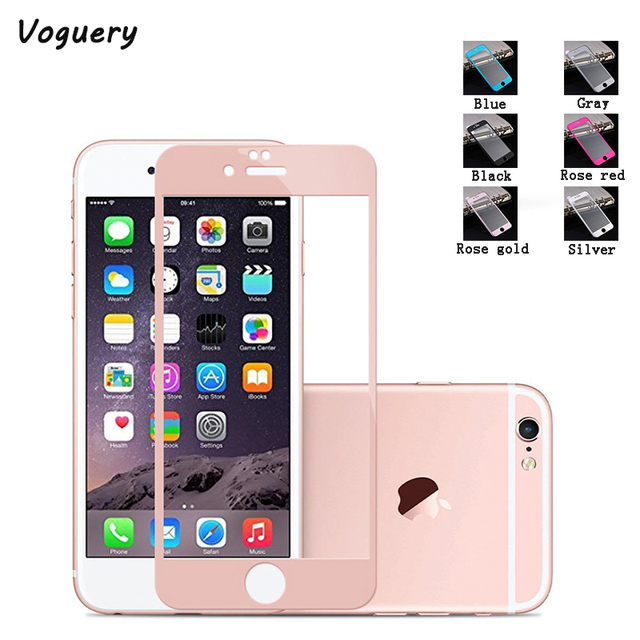 38226f35a77 Voguery 3D Curved Tempered Glass Screen Protector for iPhone 6 6S Plus  Titanium Alloy Metal Frame HD Full Cover Screen Protector