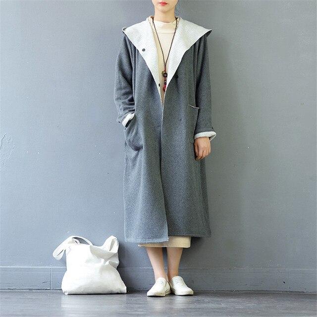 Scuwlinen осень 2017 г. зимняя куртка Для женщин Сплошной Винтаж с капюшоном, свободные длинные утолщение хлопок Флисовые толстовки S461