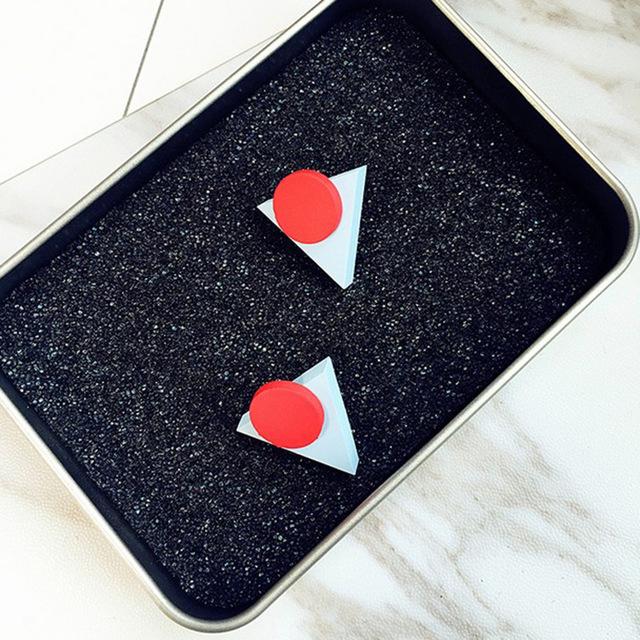 Geometric Wooden Triangle Stud Earrings For Women