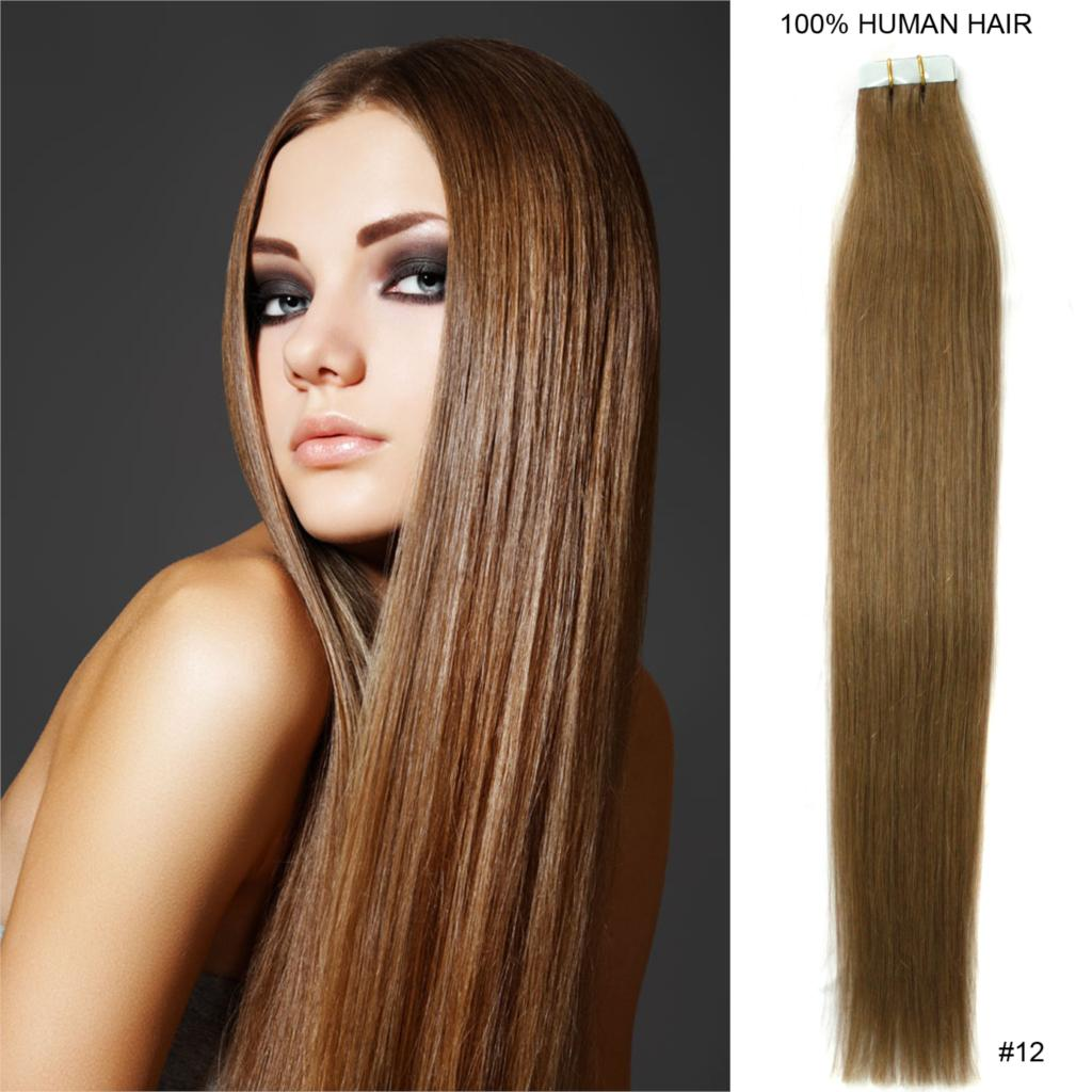 50cm 20 Tape In Pu Skin Wefts Remy Human Hair Extension 12 Light