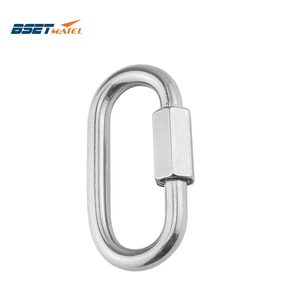 M8*75mm 304 Stainless Steel Carabiner Oval Screwlock Quick Link Lock Ring Hook Chain Rope Connector Buckle Locked Hook