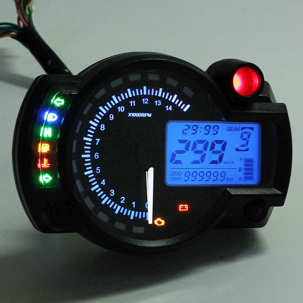 Blue Universal Motorcycle Motorbike LCD Digital Speedometer Odometer Tachometer Motorcycle Instruments in Instruments from Automobiles Motorcycles
