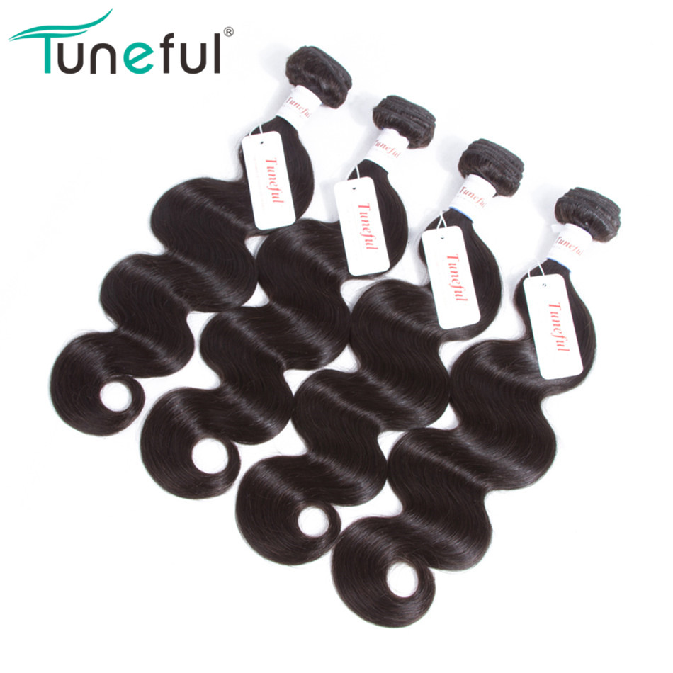 Peruvian Body Wave Hair Bundles 4 Pcs Tuneful Non-remy Hair Weft Weaving Hair Extensions Can Be Dyed 100% Human Hair Weave