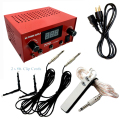 SALE Red Tattoo Machine Power Supply Dual LCD FREE Foot Pedal 2x Clip Cords