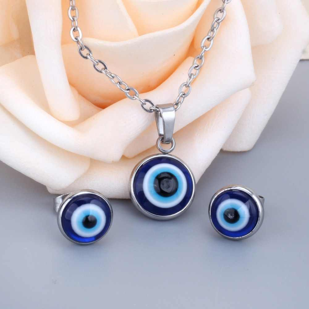 LUXUSTEEL נשים עגיל ושרשרת סטי נירוסטה מזל כחול עיניים תליון שרשרת עגיל דובאי תכשיטי זהב סט מתנה