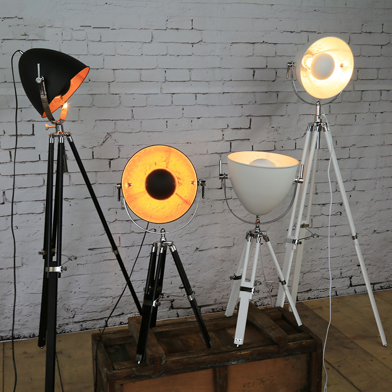 Us 225 93 22 Off Creative Tripod Searchlight Loft Country Industry Vintage Floor Lamps With Edison Bulbs Living Room Light Fixtures In