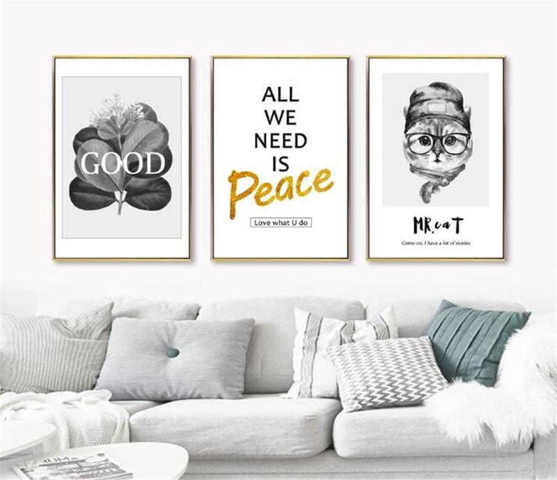 AtFipan Nordic плакат животное кошка картина искусство печать настенные картины для гостиной стены Искусство холст картины плакаты и принты