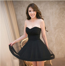 2019 Women Strapless Sexy Mesh Dress Sleeveless A Line Mini Black Party 4 Colors
