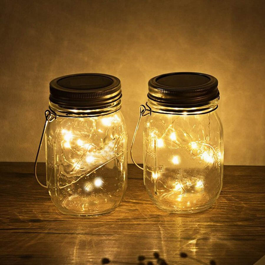 Beiaidi 4pcs Solar Mason Jar Lights With Lid Outdoor Landscape Garden Hanging Light 10leds Copper Fairy String In Lamps From