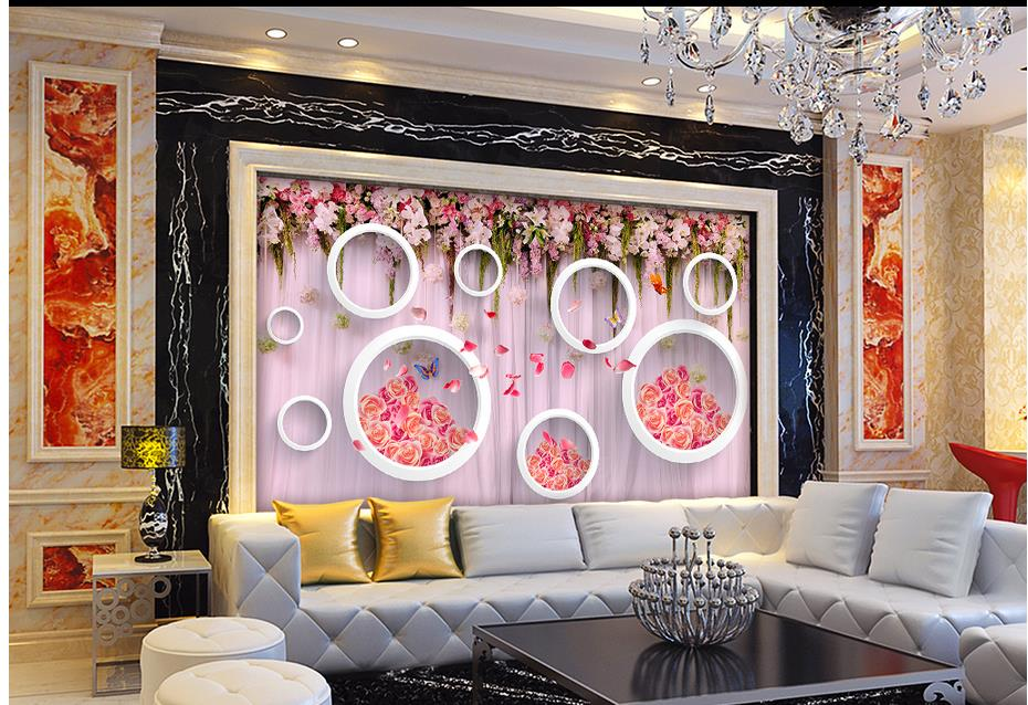 ᗑ Hand Painted Flowers Rose 3d Circle Wallpaper For Painting Home