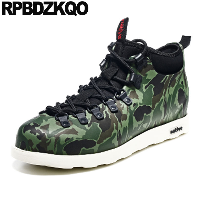 Trainer Rubber Fishing Boots Men Lace Up Green Rain Ankle Wedge Booties Camouflage Casual Shoes Pvc High Top Sneakers Waterproof mint green casual sleeveless hooded top