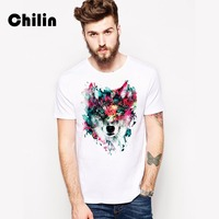 Chilin 2017 Latest T Shirts Colorful Painting Fox Men T Shirts Printed T Shirts TopsHip Hop