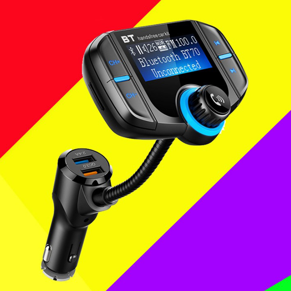 FM Transmitter Wireless Radio Adapter Hands-free Car Kit. Upgraded Version