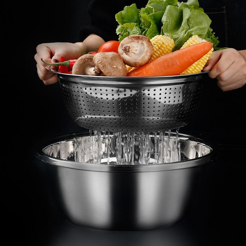 304 Stainless Steel Leaky Basin Wash Basin Set Household Egg Wash Rice Sieve Wash Basin Kitchen Wash Basin Drain Basket