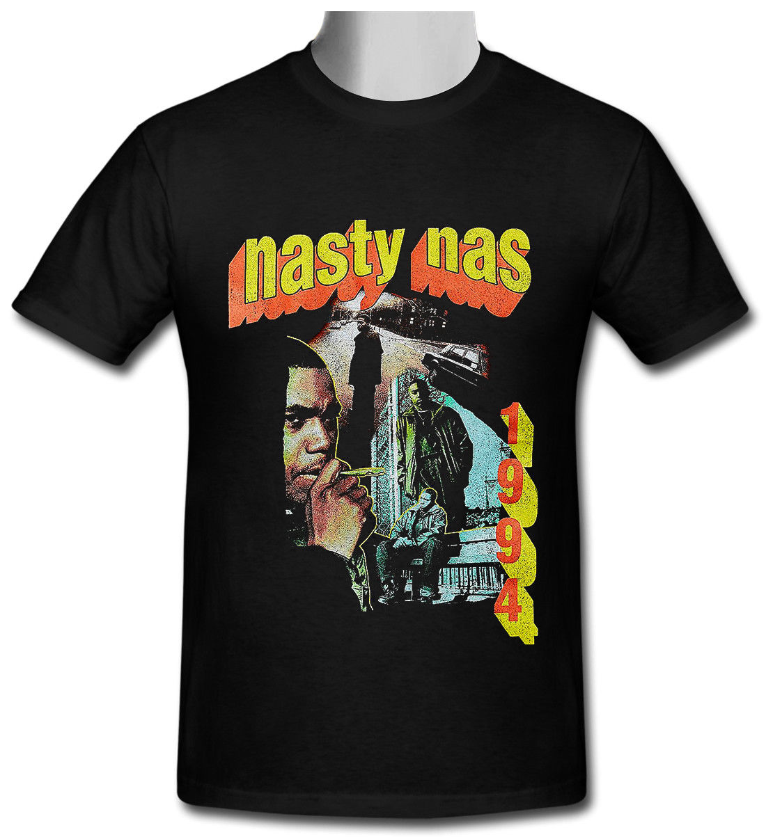 Nasty Nas Vintage Retro Hip Hop  Black T-shirt Size S To 3XL 100% Cotton Short Sleeves T Shirts Top Tee Round Neck Best