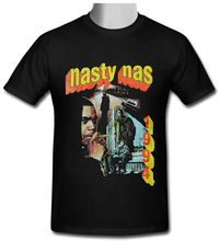 Nasty Nas Vintage Retro Hip Hop  Black T-shirt Size S To 3XL 100% Cotton Short Sleeves T Shirts Top Tee Round Neck Best цены