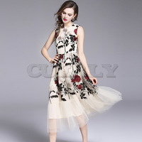 Cuerly FASHION 2019 New Women Summer Dress High Quality Mesh Flowers Embroidery Runway Dress Luxury Party Dresses Vestidos