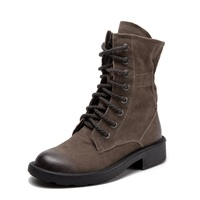 Shoes Women's Boots Khaki Ankle Genuine Leather