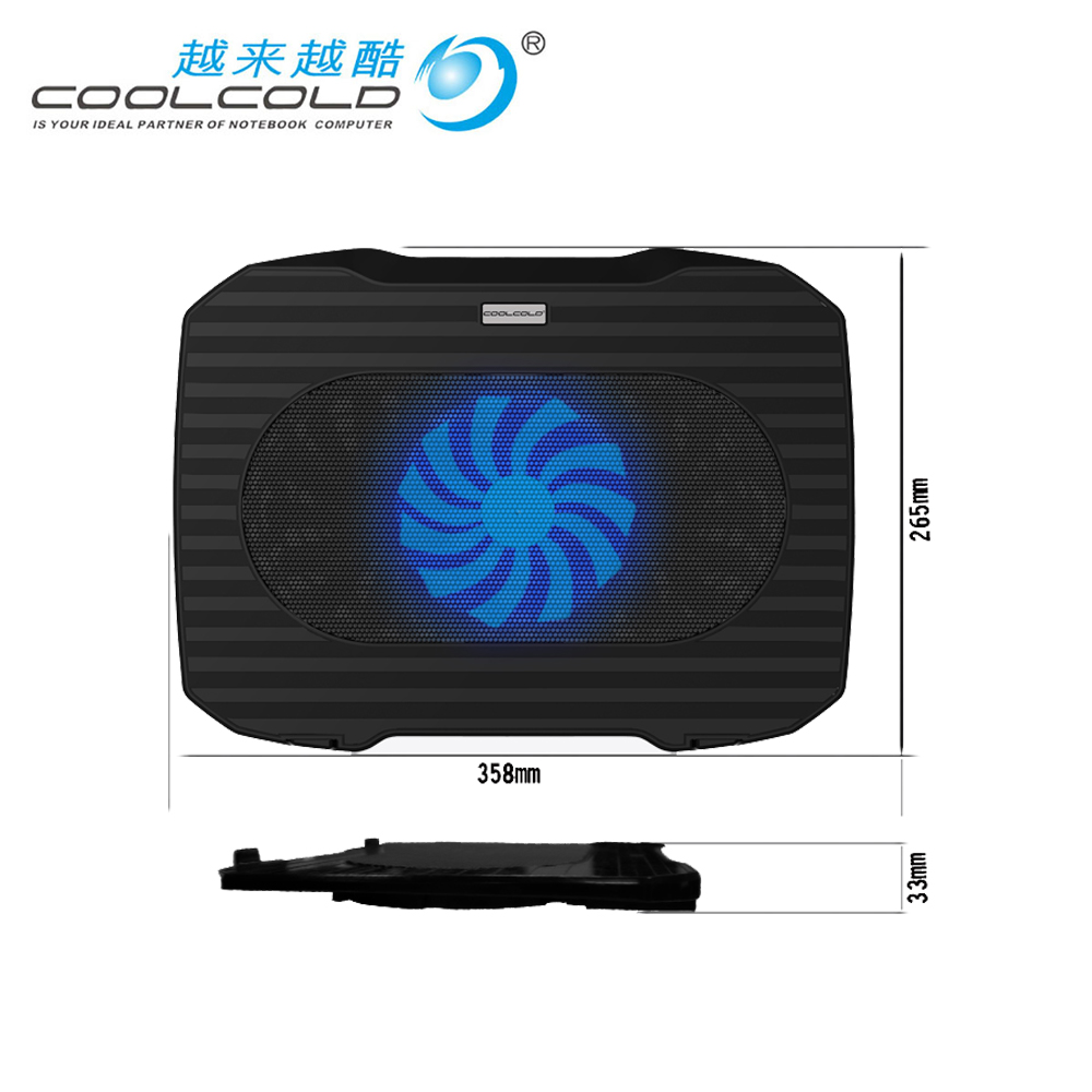 COOLCOLD laptop Cooling Pad Laptop cooler USB Fan Light <font><b>Notebook</b></font> <font><b>stand</b></font> slide-proof <font><b>stand</b></font> Cooler image