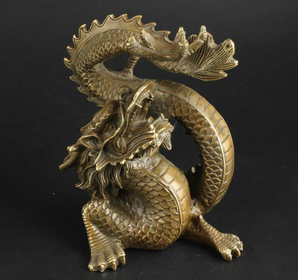 China Collectable Handmade Brass Clear Ward Off Bad Luck Lucky Dragon Statue