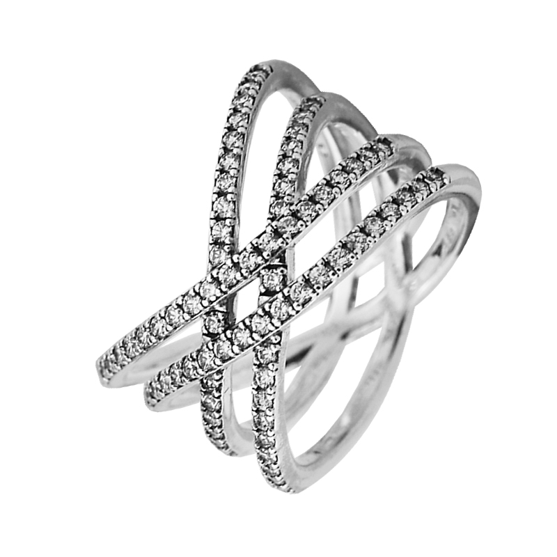 100% 925 Sterling-Silver-Rings Cosmic Lines Ring With AAA Cubic Zirconia wedding Rings for Women Fashion Fine Jewelry