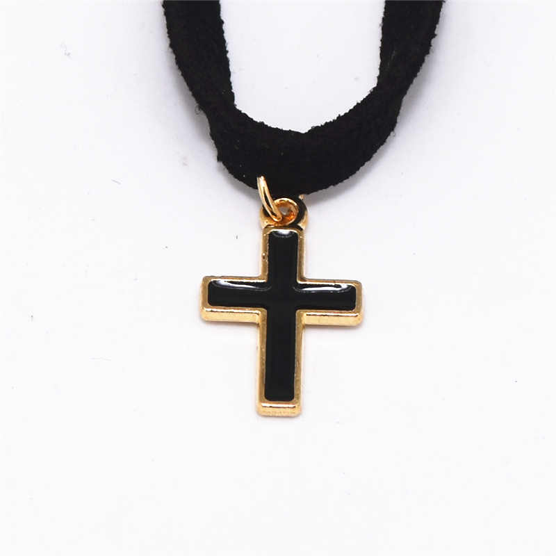 Хит модных продаж Простой Прохладный подвеска в форме черного Креста бархатные кожаные колье себе Готический цепочки и ожерелья для женщин Jewelry Bijoux колье