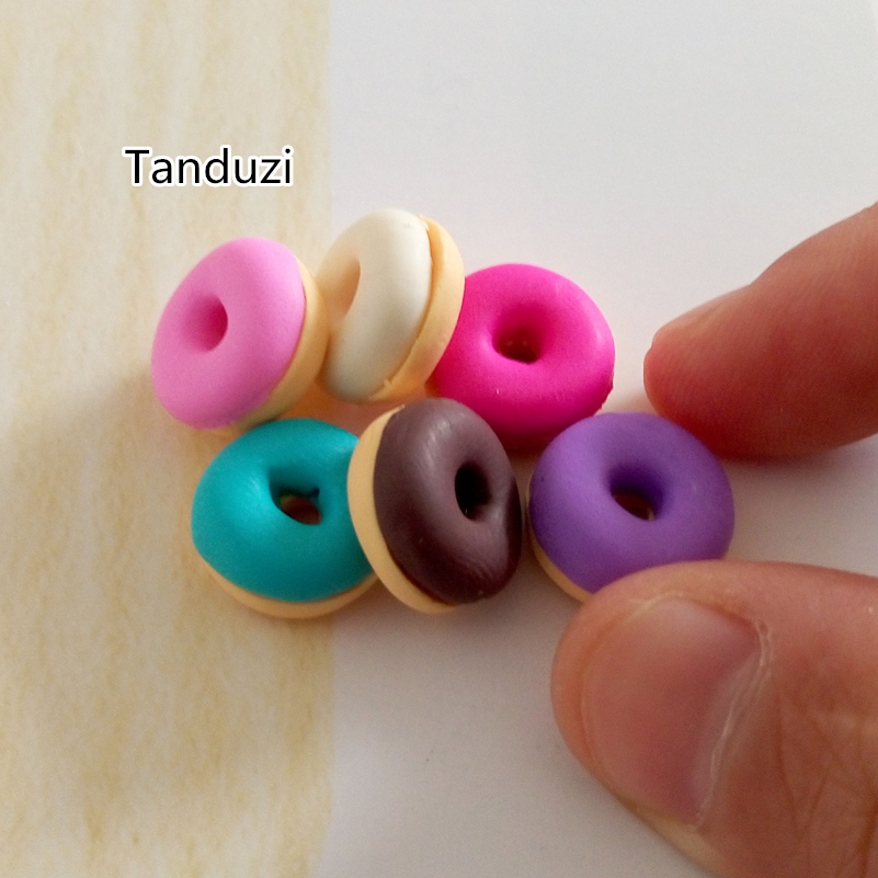 Tanduzi 100pcs Wholesale Kawaii Polymer Clay Donut Fimo Clay Handmade Doughnut Flatback Scrapbooking Simulation Food Deco Parts