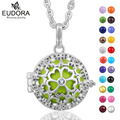 Eudora Elegant Lucky Flower Silver Plated Locket Cage With Sounds Chime Ball Pendants Necklace for Pregnant Women Gift Jewelry