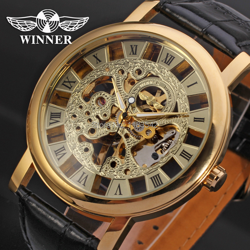 2016 Winner Mechanical Men New Wristwatch Skeleton Gold Color Black Leather Band Free Shipping Wrg8006m3g1