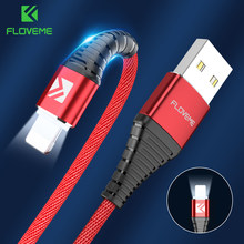 Floveme LED USB Kabel untuk Lightning untuk iPhone X 8 7 5 5 S SE Ipad 1 M Hi- tarik 2A Biaya Cepat Pengisian Data Kabel Charger Kabel for iphone xs xr xs max x usb cable for iphone charger cable(China)