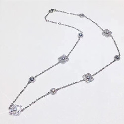 Designer Fashion 925 Sterling Silver Jewelry 3A Cubic Zirconia Party Necklace