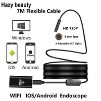 8mm Lens Wifi Android IOS Endoscope Camera 7M Waterproof Snake Tube Pipe Borescope 720P Camera