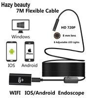 8mm Lens Wifi Android IOS Endoscope Camera 7M Waterproof Snake Tube Pipe Borescope 720P Camera
