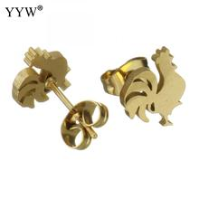 YYW Stainless Steel Stud Earrings Cock For Woman Gold Men Women Earring Gift Best Friend Girls