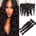 8A Malaysian Virgin Hair With Closure, 3 Bundles Malaysian Loose Wave with 13*4 Ear To Ear Full Lace Frontal,Ms Lula Hair