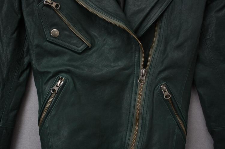 2017 Hot Dark Green Genuine Leather Jacket Womens Spring Fall Biker