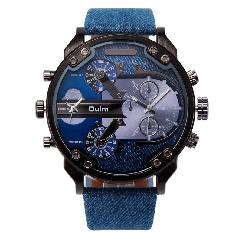 Oulm Luxury Brand Mens Leather Band Fashion Blue Quartz Watch Multiple Time Zone Casual Sports Wristwatches
