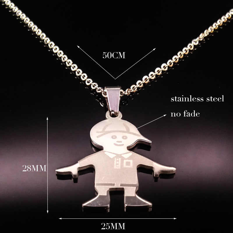 f97ec02e9 ... Stainless Steel Boy Girl Necklaces Silver Color Chain Love Family  Choker Necklace Jewelry Women Gifts acero ...