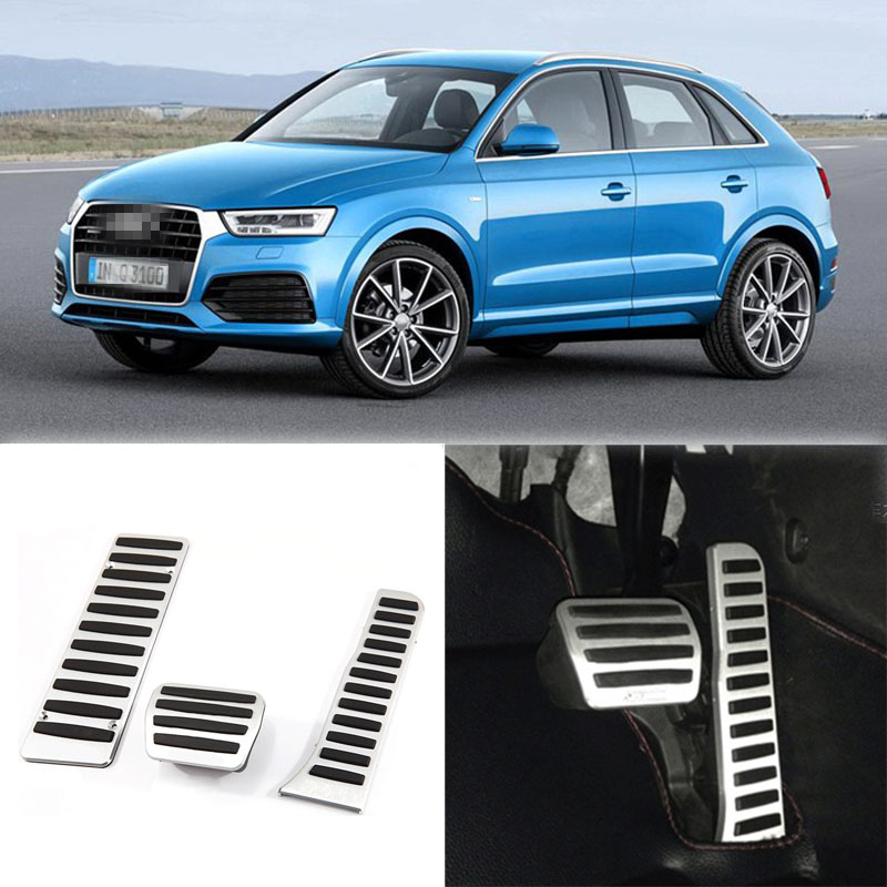 Brand New 3pcs Aluminium Non Slip Foot Rest Fuel Gas Brake Pedal Cover For Audi Q3 AT 2013-2016 brand new 3pcs aluminium non slip foot rest fuel gas brake pedal cover for peugeot 508 at 2011 2016