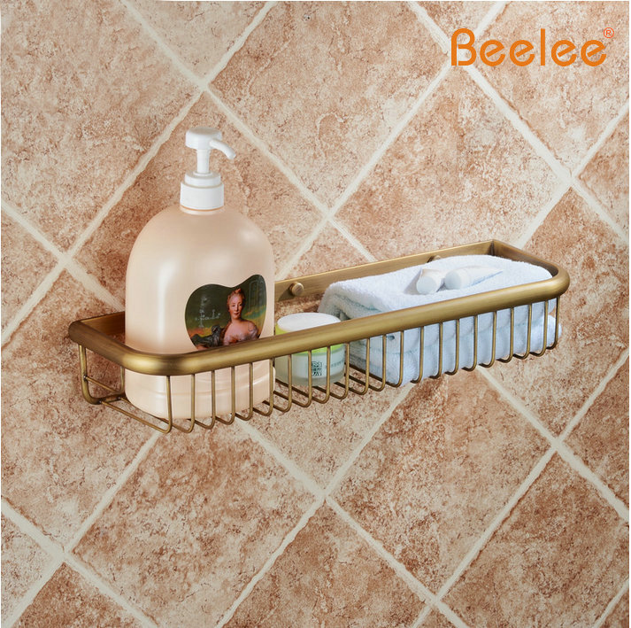 Beelee BA9411A Wall Mounted antique Brass Bathroom Soap Basket Bath Shower Shelf Basket Holder building material free shipping european style brass antique soap dish solid brass bathroom soap holder soap basket bathroom accessories shelf