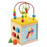 モンテッソーリ木製教育就学前のおもちゃ活動キューブおもちゃ赤ちゃん木製ビーズ迷路用幼児oyuncak brinquedoパラベベ
