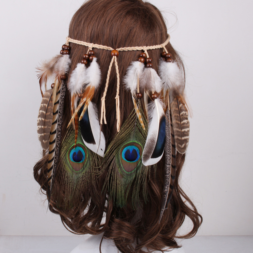 New Arrival  Women Color Bead Headband Bohemian Indian Peacock Feathers Leather Pendants Hair Accessories Female Hair Band